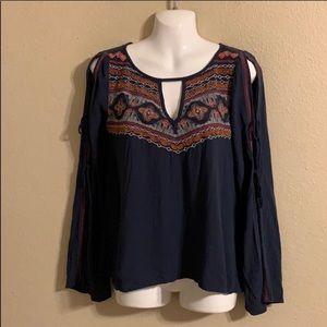 Lace arm blouse